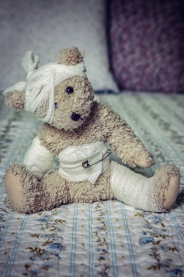 Wounded Teddy Bear With Dressings