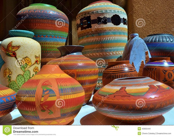 http://www.dreamstime.com/stock-image-brightly-colored-southwestern-ceramic-clay-pottery-outdoor-santa-fe-new-mexico-market-featured-beautiful-pots-vases-image43955441