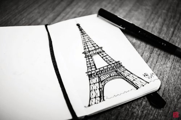 Easy and Beautiful Eiffel Tower Drawing and Sketches00001