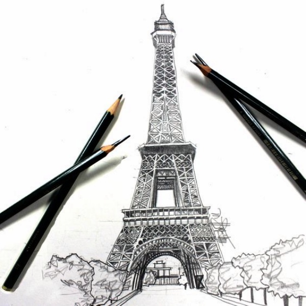 Easy and Beautiful Eiffel Tower Drawing and Sketches00005