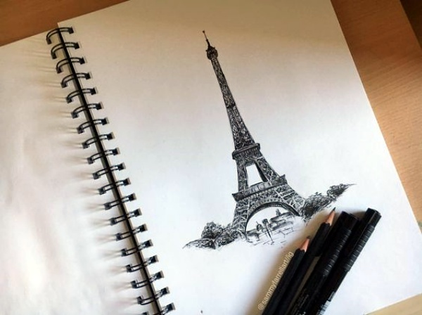 Easy and Beautiful Eiffel Tower Drawing and Sketches00009