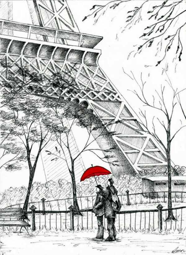 Easy and Beautiful Eiffel Tower Drawing and Sketches00011