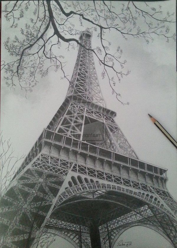 45 Easy And Beautiful Eiffel Tower Drawing Sketches