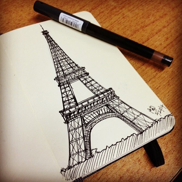 eiffel tower drawing and sketches (6)