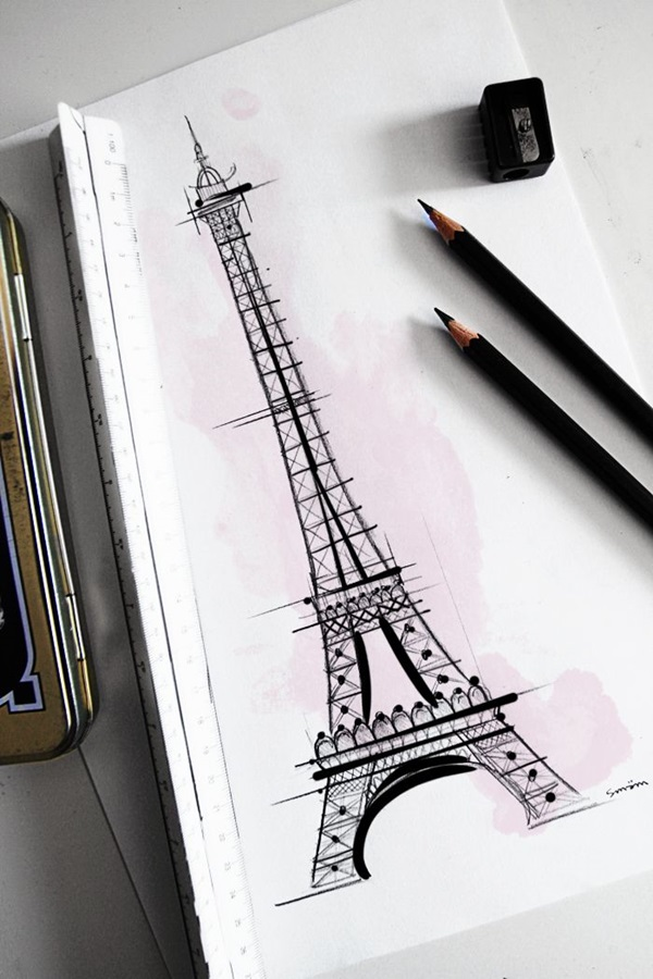 eiffel tower drawing and sketches (9)