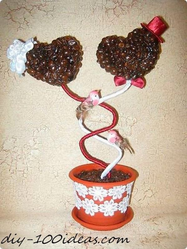 Amazing DIY Coffee Beans Crafts Heart-topiary-trees-