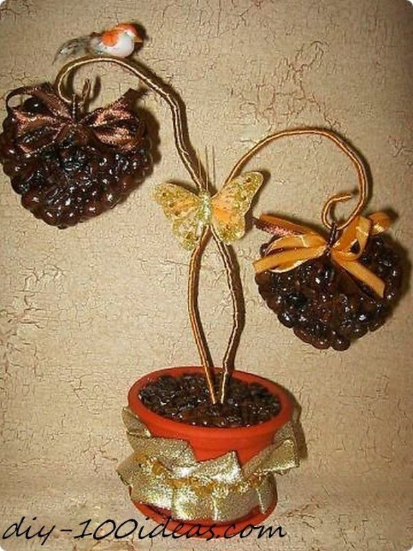 Amazing DIY Coffee Beans Crafts Heart-topiary-trees-2