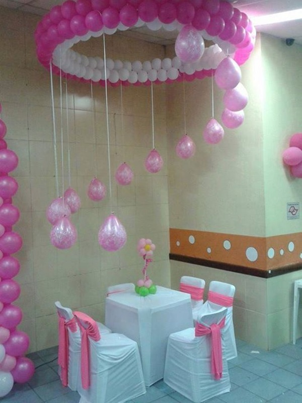 40 creative balloon decoration ideas for parties hobby for Baby shower party hall decoration ideas