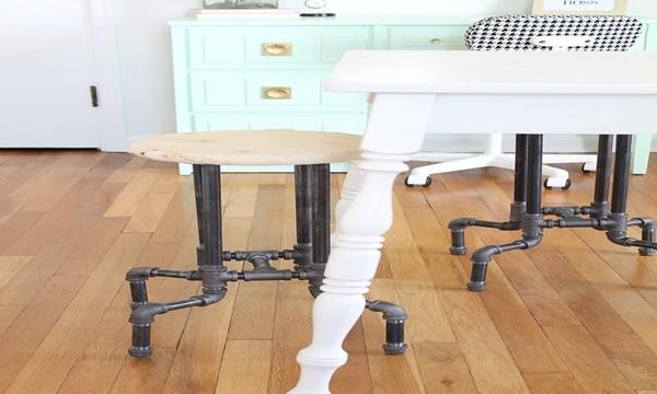 DIY Industrial Pipe Stool Tutorial Feature Image