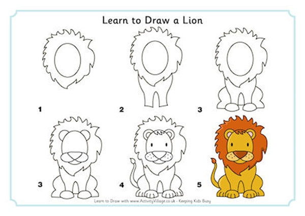 Easy Animals To Draw For Practice on drawings of lions how to draw a lion step