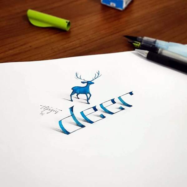 Mind Boggling 3D Calligraphy Examples By Tolga Girgin (20)