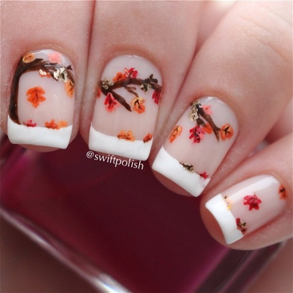 30 Uniquely Beautiful Tree Nail Art Ideas 10