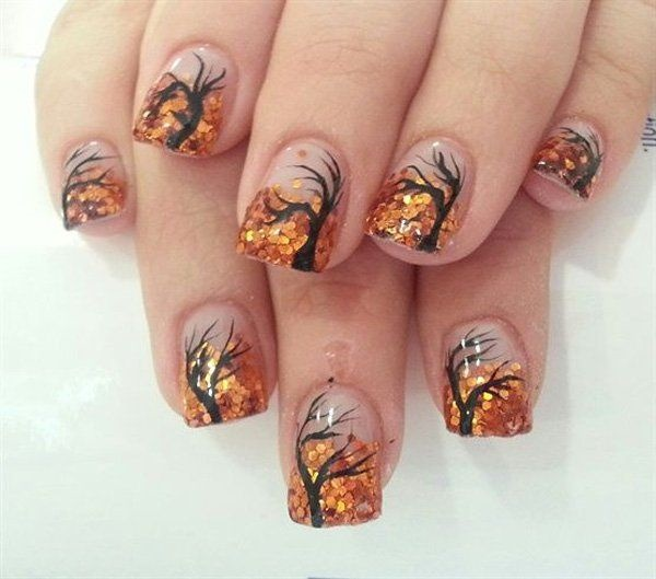 30 Uniquely Beautiful Tree Nail Art Ideas 11