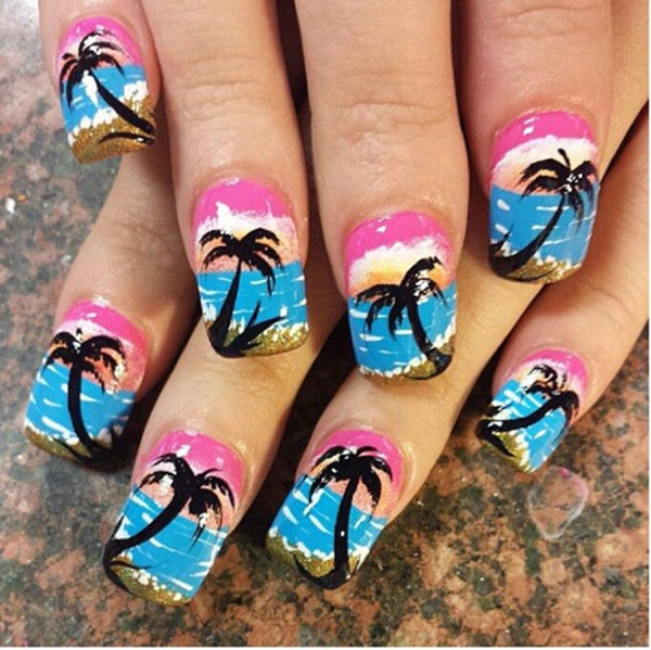 30 Uniquely Beautiful Tree Nail Art Ideas 17