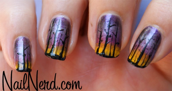 30 Uniquely Beautiful Tree Nail Art Ideas 19