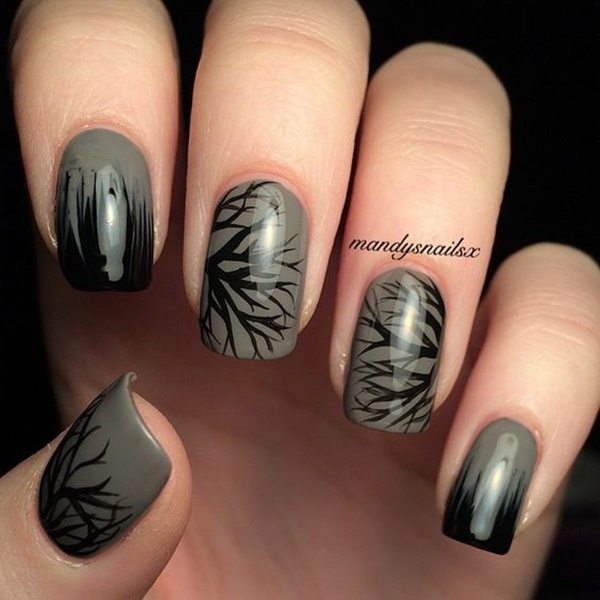 30 Uniquely Beautiful Tree Nail Art Ideas 21