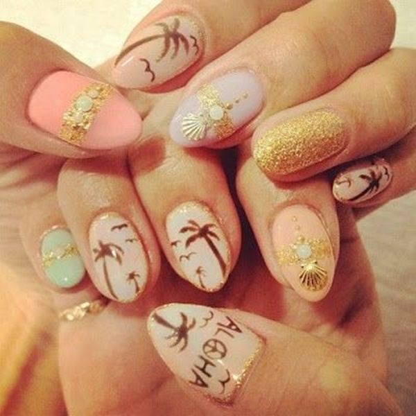 30 Uniquely Beautiful Tree Nail Art Ideas 32
