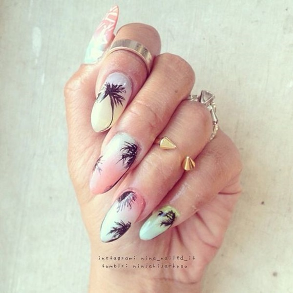 30 Uniquely Beautiful Tree Nail Art Ideas 35