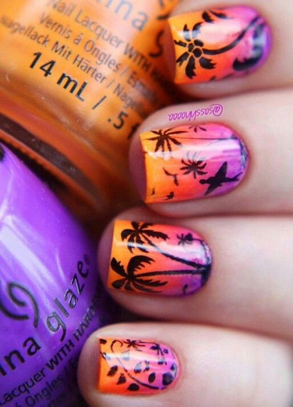 30 Uniquely Beautiful Tree Nail Art Ideas 38