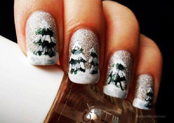 30 Uniquely Beautiful Tree Nail Art Ideas 6