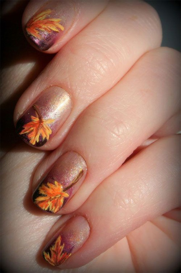 40 Easy and Attractive Fall Nail Art Ideas 12