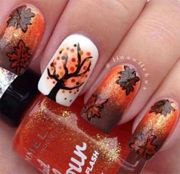 40 Easy and Attractive Fall Nail Art Ideas 26