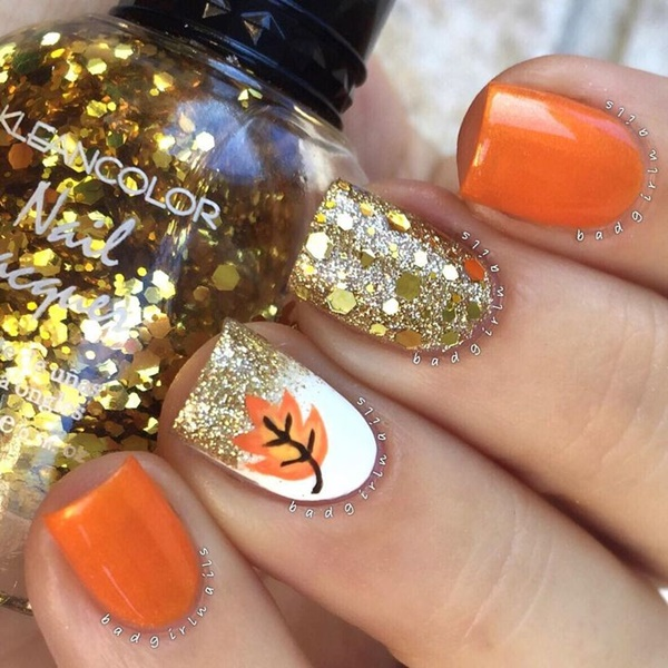 40 Easy and Attractive Fall Nail Art Ideas 30