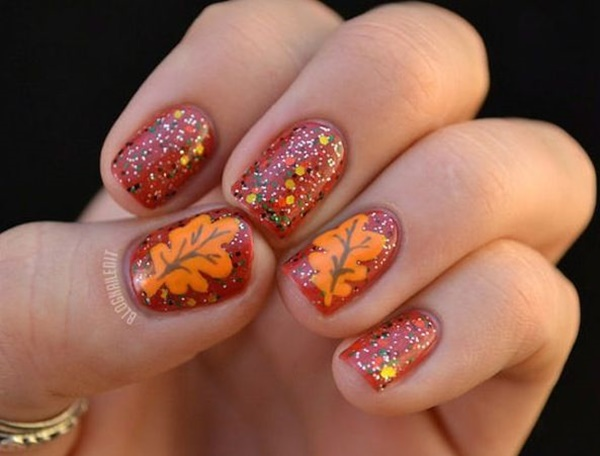 40 Easy and Attractive Fall Nail Art Ideas 35