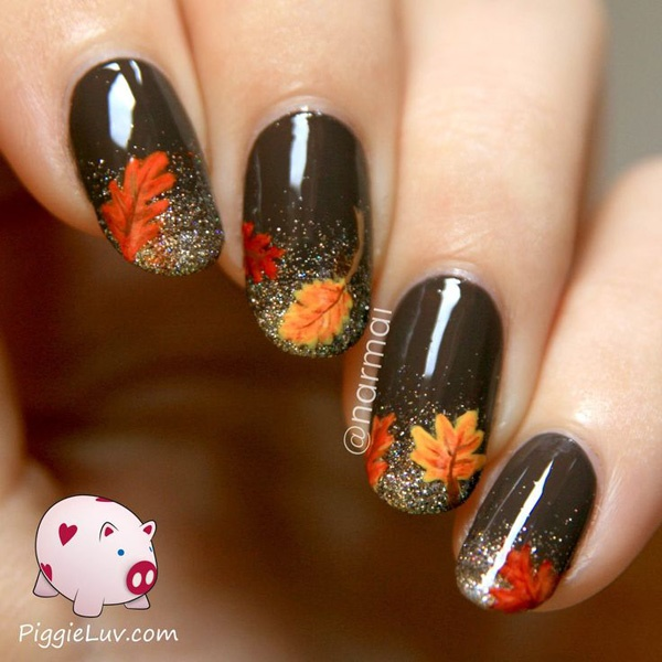 40 Easy and Attractive Fall Nail Art Ideas 5