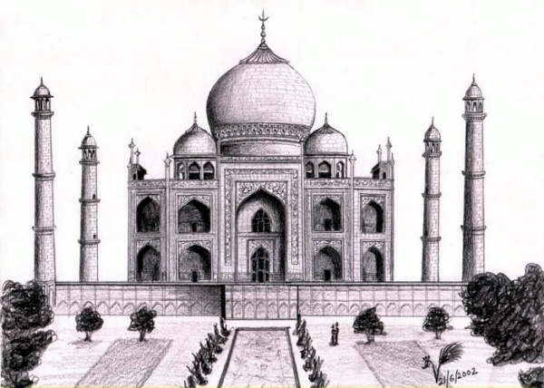 Beautiful Taj Mahal Drawings and Sketches00008