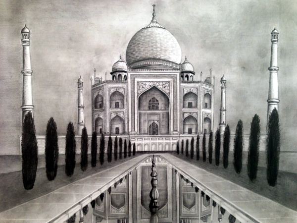 Taj Mahal Pencil Sketch Dreams Of An Architect Taj Mahal Pencil Drawing - Pencil Art Drawing
