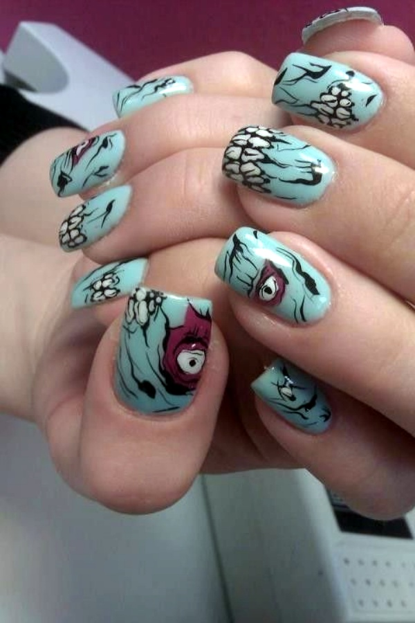 Scary Zombie Nail Art To Try On This Halloween00002