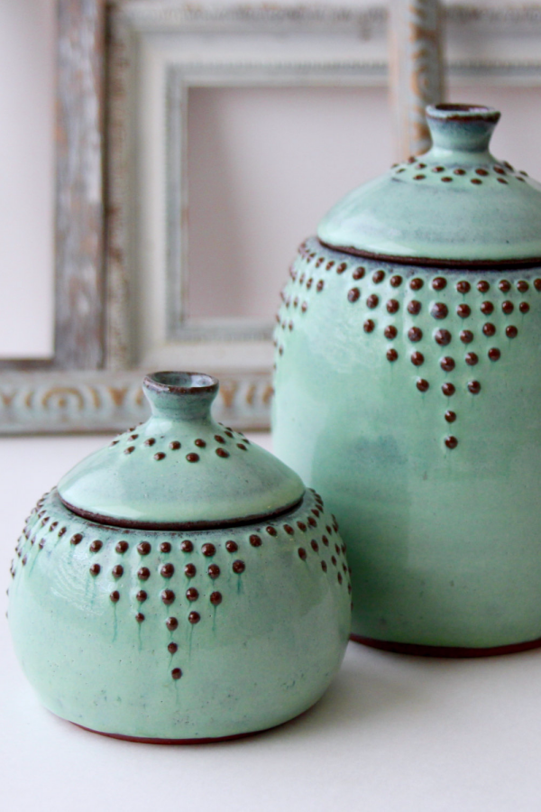 Handmade Large/Small Ceramic Dotted Pots