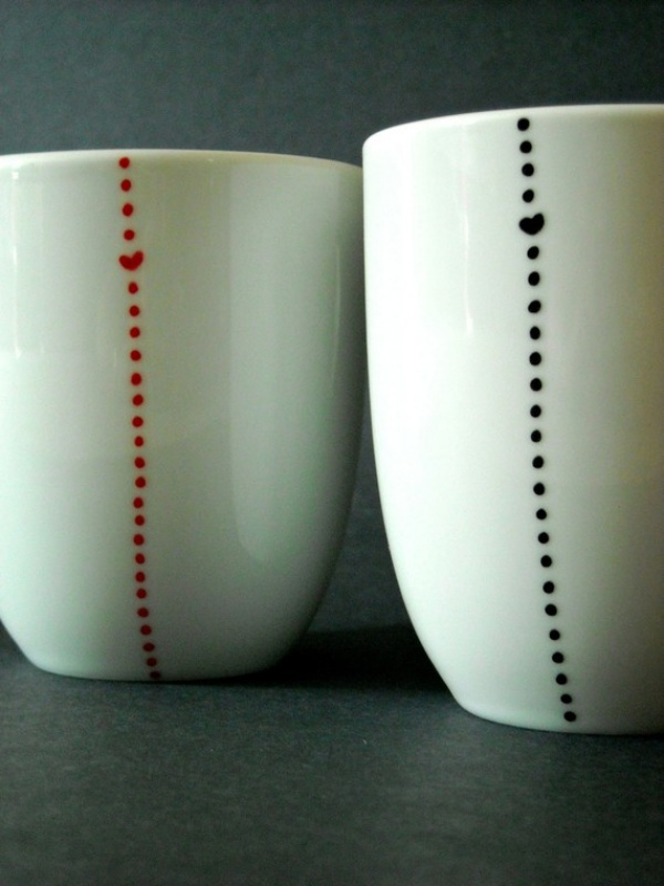 Original pictures of handmade large small ceramic dotted pots for Handmade mug designs