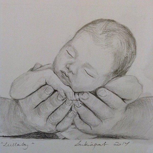 Simple Pencil Mother and Child Drawings