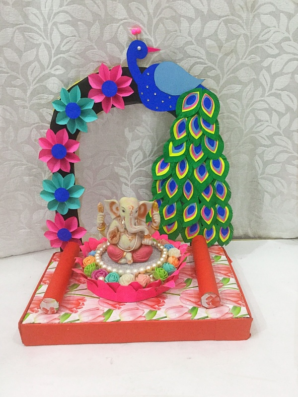 DIY Recycling Ganpati Pooja Decoration Ideas
