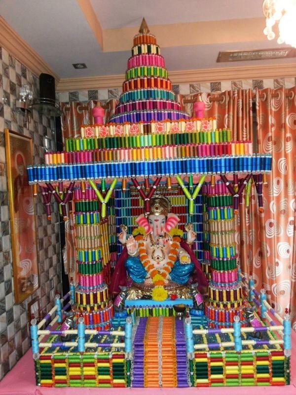 DIY Recycling Ganpati Pooja Dekoration Ideen