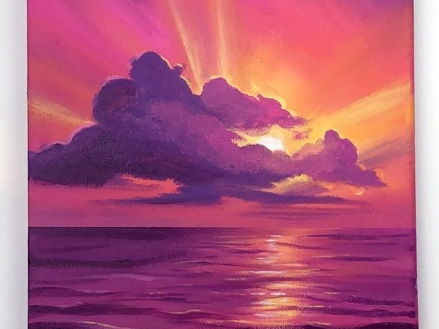 40 Beautiful Sunset Acrylic Painting Ideas For Beginners